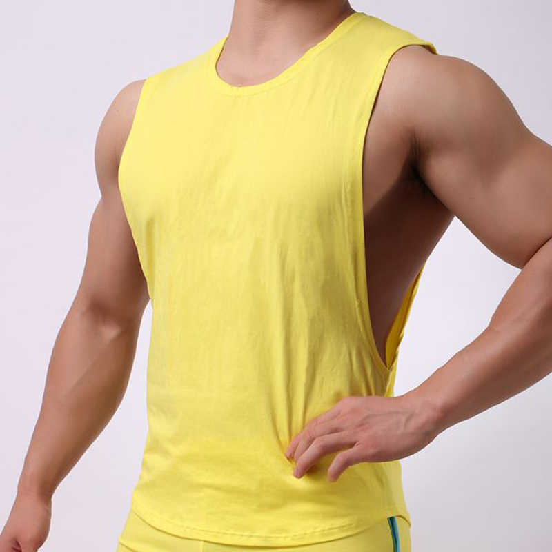 c22d23a0b Hot sale Mens Sexy Cotton Casual Tank Top Men Sleeveless Tops Bodybuilding  Undershirts Gay mens Low Cut Fashion Loose vests