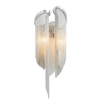מודרני אלומיניום שרשרת מצופה קיר מנורת מבואת חדר שינה חדר אוכל קיר תאורה E14 מנורת בעל 110 240 V חינם חינם-במנורות קיר מתוך פנסים ותאורה באתר