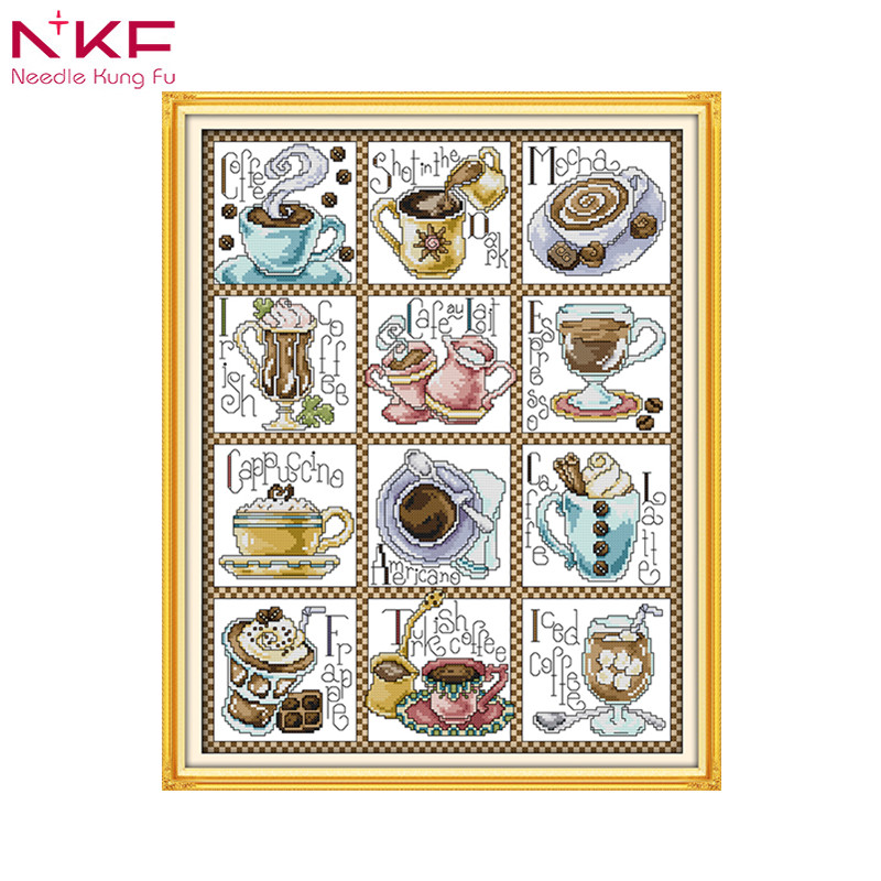 December Coffee Home Decor Chinese Counted Printed Canvas Cross Stitch Pattern Diy Kits DMC14ct 11ct Embroidery Needlework Sets