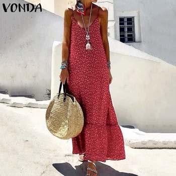 VONDA verano Vestido Mujer bohemio Maxi vestido largo Sexy Vestidos cuello en V sin mangas estampado Floral playa vestido talla grande