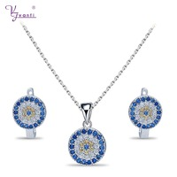 New Delicate Design white Color blue and yellow Stone Fashion Elegant Jewelry Set With Necklace Earring for Turkish Eye Style