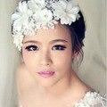 Em Estoque de Casamento Lace Flores Artesanato Chapéus De Noiva Cabelo Acessórios de Pérolas Acessórios Jóias Noiva Hairwear Acessório Para Noivas SA930