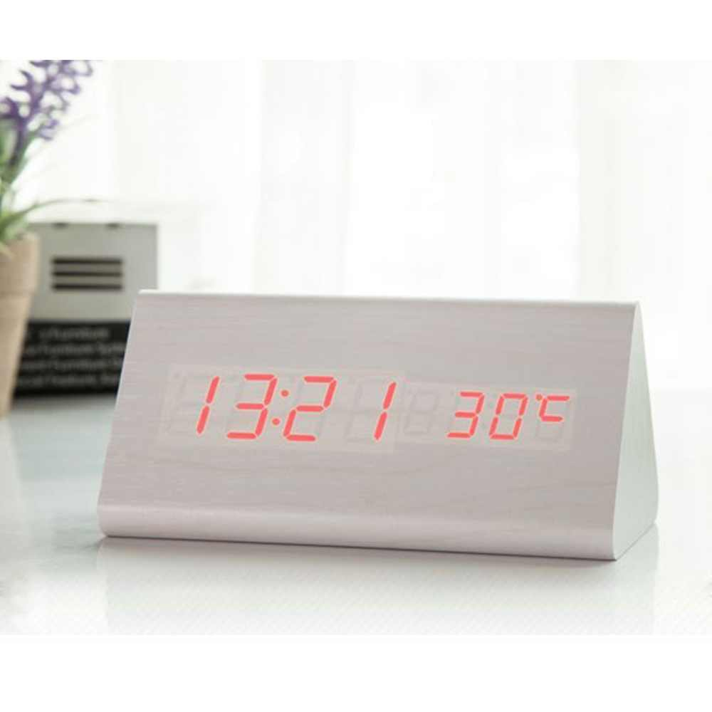 Деревянный светодиодный Будильник, управление звуком, белые Настольные Цифровые часы с температурным электронным дисплеем, термометр, домашний декор