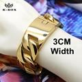 2CM~3CM Width Mens Supper Bracelets 290g Heavy Hiphop Jay-z Style Bracelet Massive 316L Steel Bling Cuban Curb Chain Bracelets