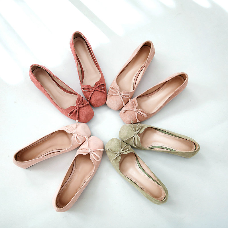Nemaone Doux vert Printemps Cm Bout Beige Chaussures Confortable Femmes 2019 Grande Carré Med Bowknot Pompes Taille Robe rose Été 4 Talons marron Dame rzZrIq1