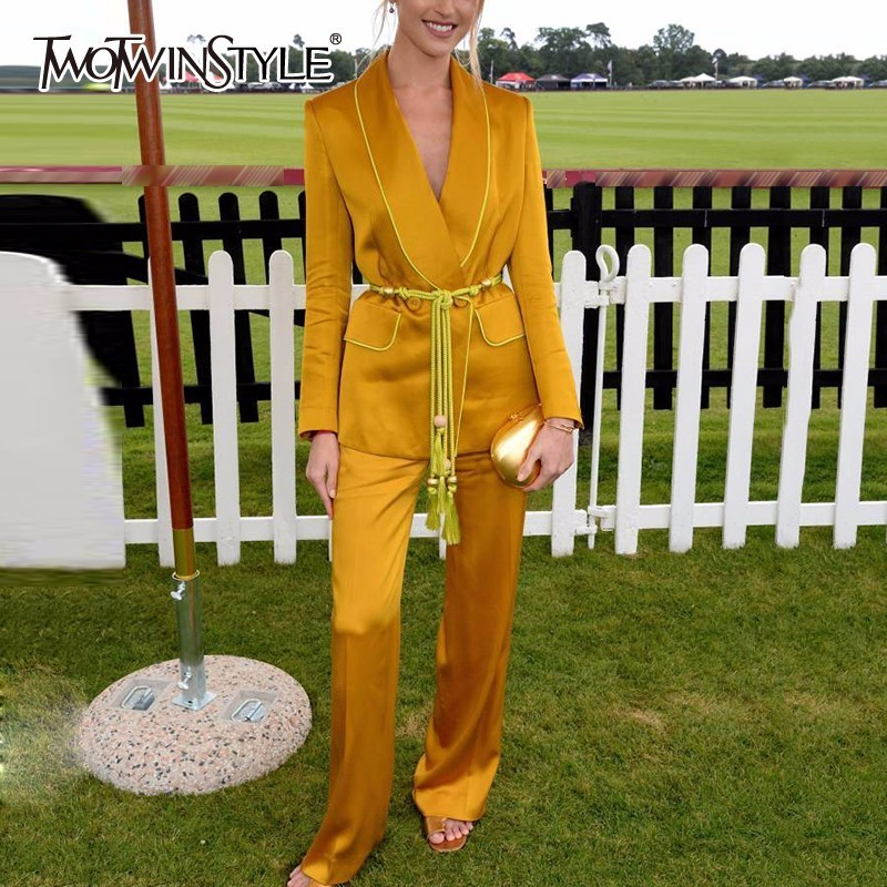TWOTWINSTYLE Yellow Pants Suits For Women Belt Tassel Tunic Long Sleeve Blazer With High Waist Maxi