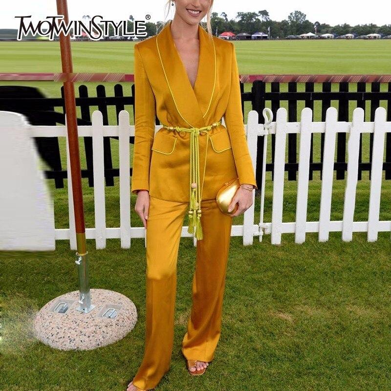 Deuxtwinstyle jaune pantalon costumes pour femmes ceinture gland tunique à manches longues Blazer avec taille haute Maxi pantalon femme automne 2019 OL