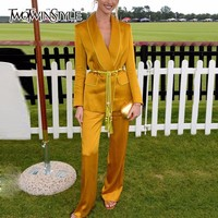 TWOTWINSTYLE Yellow Pants Suits For Women Belt Tassel Tunic Long Sleeve Blazer With High Waist Maxi Pants Female Autumn 2018 OL