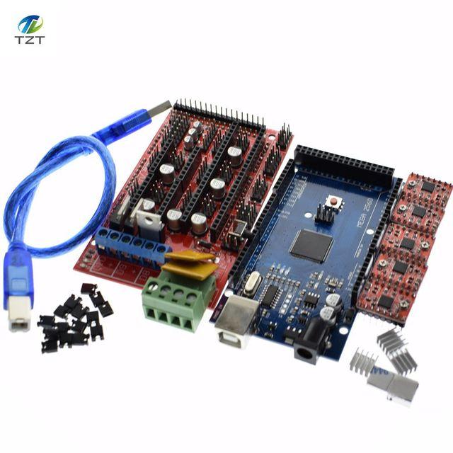 Mega 2560 R3 para Arduino + 1 Uds., controlador 1,4 + 5 uds. Módulo controlador A4988 paso a paso, kit de impresora 3D Reprap MendelPrusa