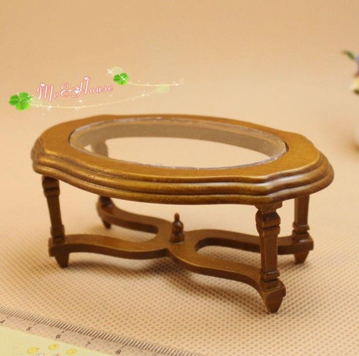 MINI casa de Boneca modelo Mobiliário em madeira maciça mesa PVC  transparente mesa de café 1d15c24199