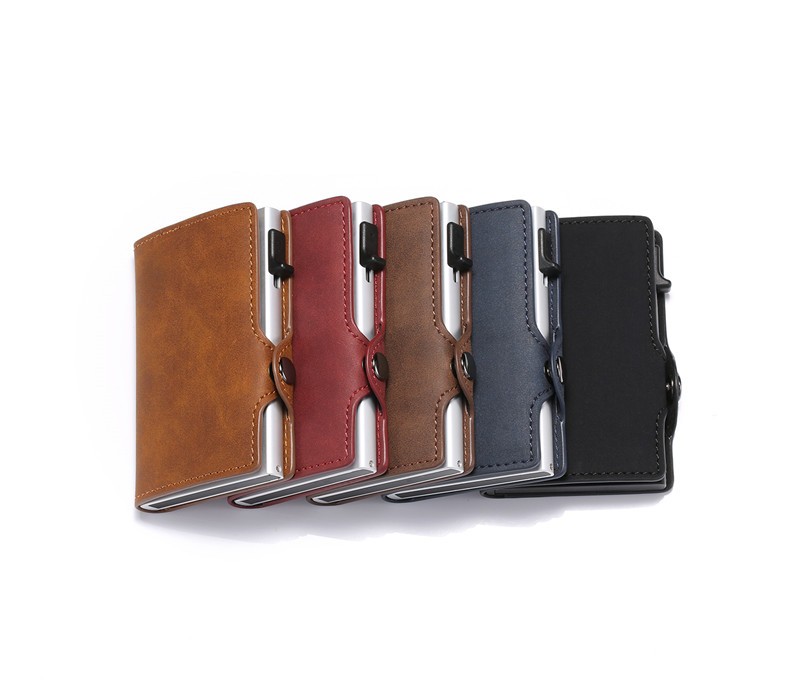 ZOVYVOL NEW RFID Blocking Vintage Automatic Leather Credit Card Holder Metal Aluminum Business ID Cardholder Slim Wallet Purse in Wallets from Luggage Bags