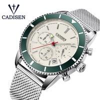 2019 Men's Watch Cadisen Fashion Sports Quartz Watch Grid Stainless Steel Luxury Mens Clock Waterproof Watches Relogio Masculino