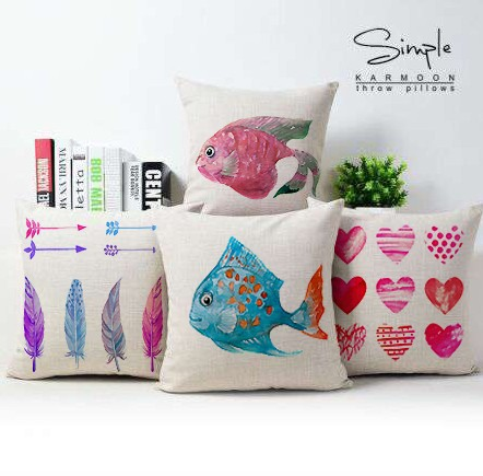 Fish pillow cover Marine animal watercolor fish love throw pillow case pillowcase wholesale