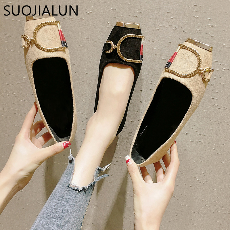 SUOJIALUN New 2019 Spring Fashion Women's Square Toe Metal Buckle Flat Shoes Soft Leather Shallow Mouth Woman Ballet Flats Loafe