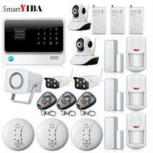 SmartYIBA APP Control WIFI GSM Home Security Alarm System+ Fire Smoke Detector Waterproof Outdoor Network Camera Surveillance