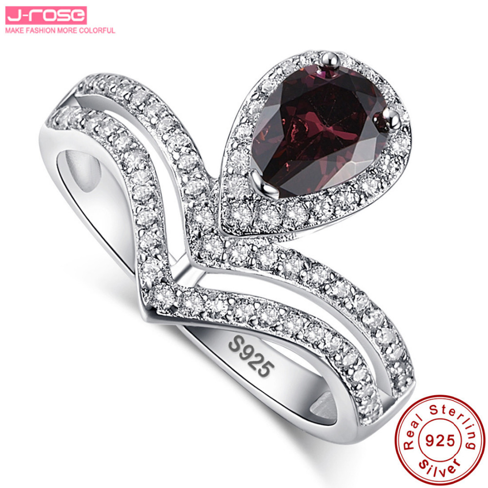 jrose fashion real pure water drop100 925 sterling silver womens wedding rings set 11ct spessartine garnet gift with box - Garnet Wedding Rings