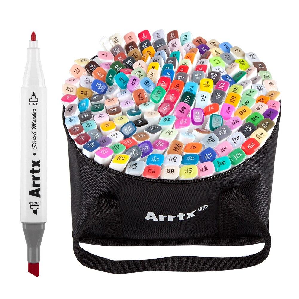 Arrtx double pointe 168 couleur marqueur stylo ensemble alcool Art croquis stylo marqueur pour dessin peinture Design coloration mise en évidence avec sac
