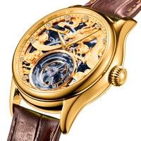 Original Tourbillon Mechanical Watches Men Watch Mechanical Hand Wind Hollow Movement DIY 24K Golden Genuine Leather Mens Watch