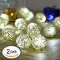 Christmas decoration LED String Lights Decorative light Battery Operated Lanterns 16 LED 7.38FT 2.25M White(2 Pack)