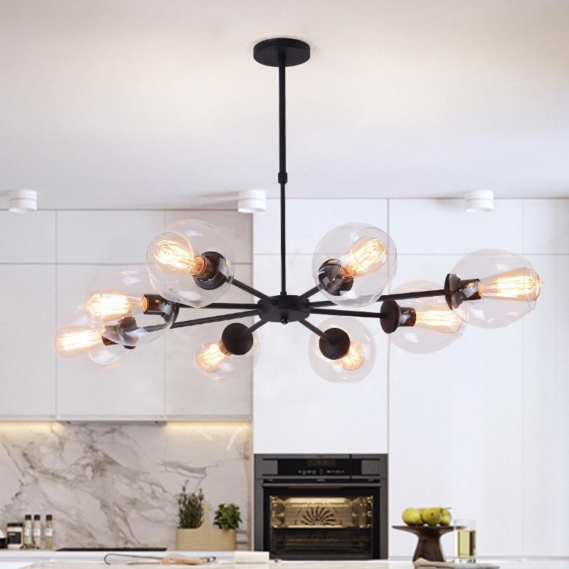 где купить Black/Gold industrial lamp Glass Pendant Lights for dinning room/living room/cafe shop 3/6/8/12 Heads hanglamp Pendant lamp по лучшей цене