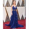 2016 88th Oscar Academy Awards Royal Blue Plunning Neck Sleeveless Ruched Ruffled Chiffon Bling Sashes Elegant Evening Dresses