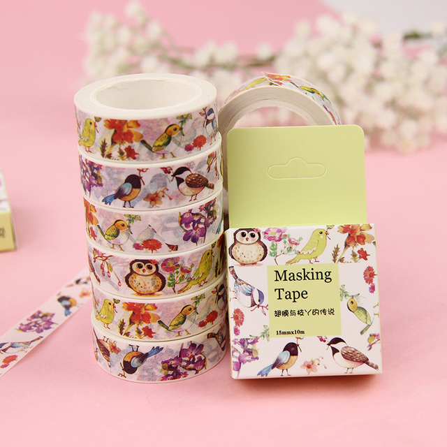 2 PCS DIY Wings and Branches Masking Tape 15mm*10m Cartoon Diary Stickers Decorative Hand Account Decorative Adhesive Tape