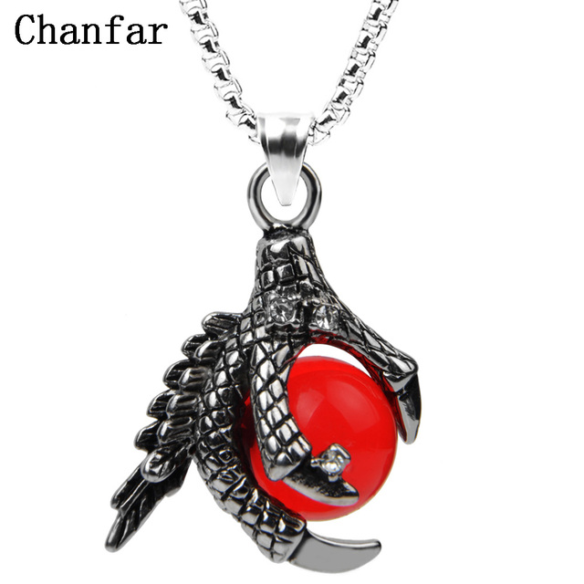 Chanfar classic dragon claw stainless steel necklace punk red chanfar classic dragon claw stainless steel necklace punk red crystal ball pendant necklace for men fashion aloadofball Image collections