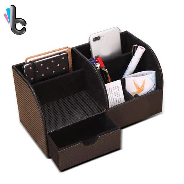 Pu Leather Multi Functional Organizer Storage Box Desktop Stationery Pen Pencil Mobile Phone Holder