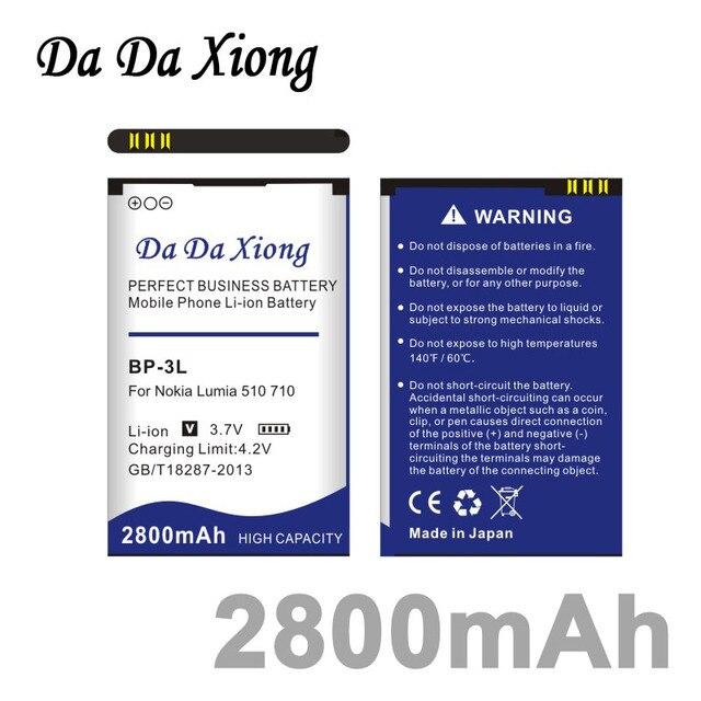 bacdbdf85f4 Da Da Xiong 2800mAh BP3L BP-3L Battery for Nokia Lumia 710 510 603 610C 900  303 603 610 3030 505