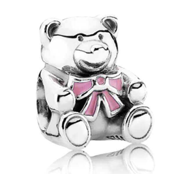 Hot Fashion Bunga Kristal Cinta Hati Ikatan Simpul Beruang Tersenyum Nenek Enamel Manik-manik Cocok Pandora Pesona Gelang Wanita Perhiasan