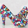 Принцесса конфеты красочные свадебные туфли 4 ''кристалл высокие каблуки, свадебные горный хрусталь платье партии обувь свадебная насосы Ночной Клуб Обувь