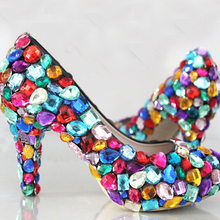 "Princess candy colorful wedding shoes 4"" crystal high heels,bridal rhinestone dress party shoes wedding pumps Nightclub Shoes"
