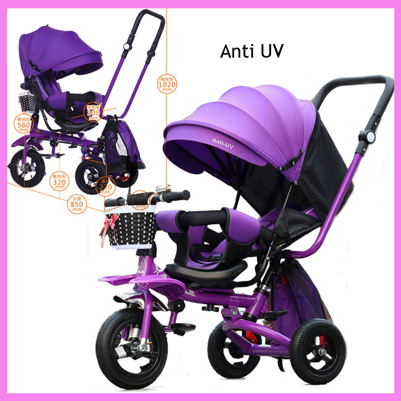 Baby Children Tricycle Bike Folding Swivel Carriage Seat Tricycle Stroller 3 Wheel Umbrella Trolley Pram Pushchair Rotating Seat baby stroller with cute ceiling swivel wheel pushchair wide seat deluxe high view traveling trolly with snack tray