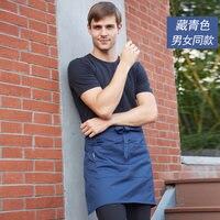 Brand Foreign Trade Short Beige White Restaurant Uniforms Aprons Waitress Waist Pocket Bib Apron Stylish Smocks