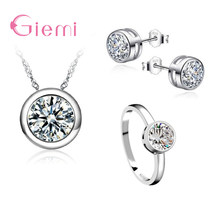 GIEMI Wholesale 3PCS Simple High-End Women Wedding 925 Sterling Silver Jewelry Sets Dazzling Clear CZ Necklace/Earring/Rings(China)