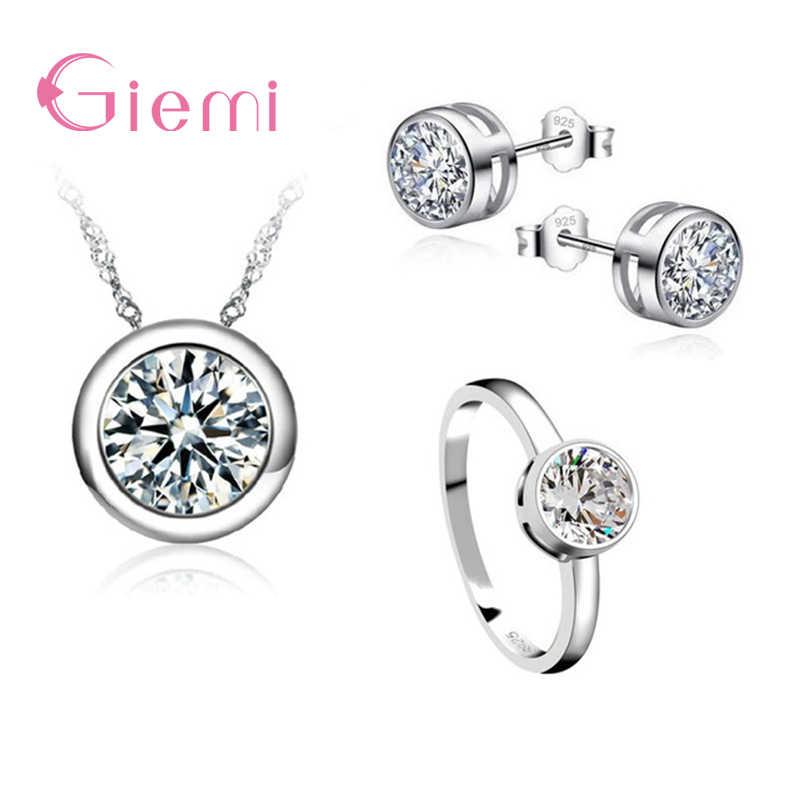 Großhandel 3PCS Einfache High-End-Frauen Hochzeit 925 Sterling Silber Schmuck Sets Dazzling Klar CZ Halskette/Ohrring /ringe