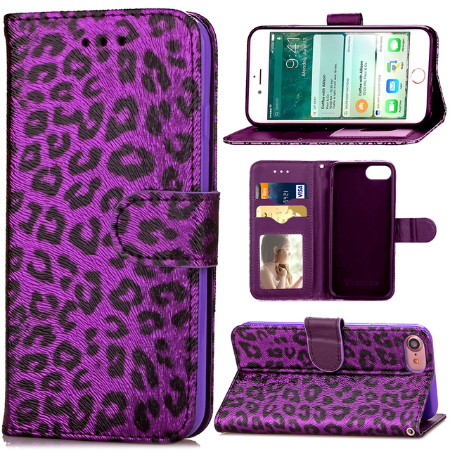 outlet store b98c8 c30d0 US $7.25 39% OFF|For Iphone X 8 7 6S Plus Samsung S8 NOTE8 Leather Case  Leopard Print Luxury Soft Flip Wallet Cover Full Protector Sexy Handbag-in  ...