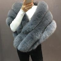 genuine lady part capes lady elegant fashion warm real fox fur wraps warm winter warm wedding outwear pashmina scarves shawls