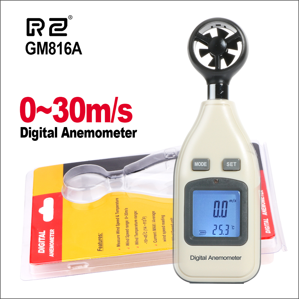 Handheld Digital Air Velocity Thermometer Anemometer Wind Speed Meter  Windmeter 30m/S (65MPH) Speed Measuring Instrument GM816A
