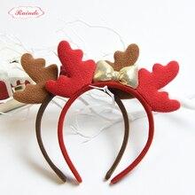 Raindo 2017 HOT Christmas Kids Headbands Girls Padded Fabrics Antlers Bowknot Hairhoops Hair Bands Christmas Hair Accessories