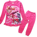 2016 moda nuevos niños ropa conjuntos de dibujos animados para niños niñas de algodón pijamas 2 unidades de la colmena pijamas trajes pantalón