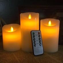 Набор из 3 х мерцающих беспламенных светодиодных свечей в форме столба с светодиодный ционным управлением, светодиодный таймер, движущийся, мерцающий край, для свадьбы, рождевечерние НКИ, Янтарный