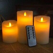 Juego de 3 velas LED parpadeantes sin llama, Pilar, temporizador controlado a distancia, mecha de baile en movimiento, borde derretido, boda, fiesta de Navidad, ámbar