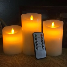set of 3 Flickering Flameless Pillar LED Candle Remote controlled timer Moving Dancing wick melted edge Wedding Xmas Party Amber
