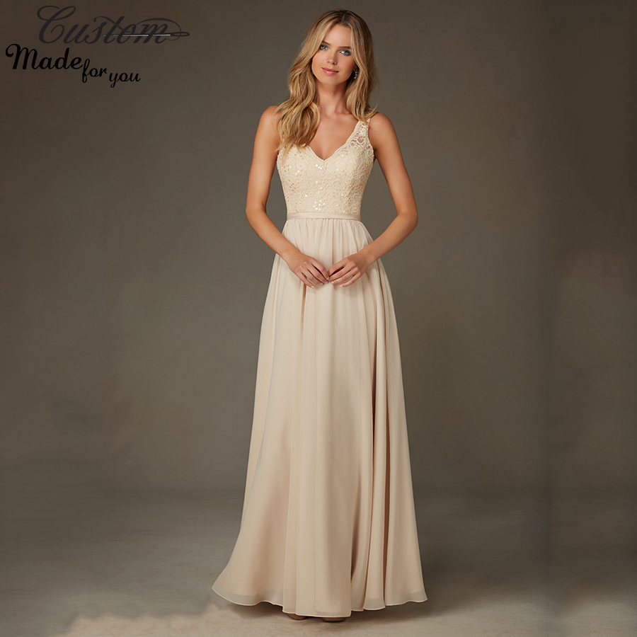 Popular Gold Chiffon Bridesmaid Dresses-Buy Cheap Gold Chiffon ...