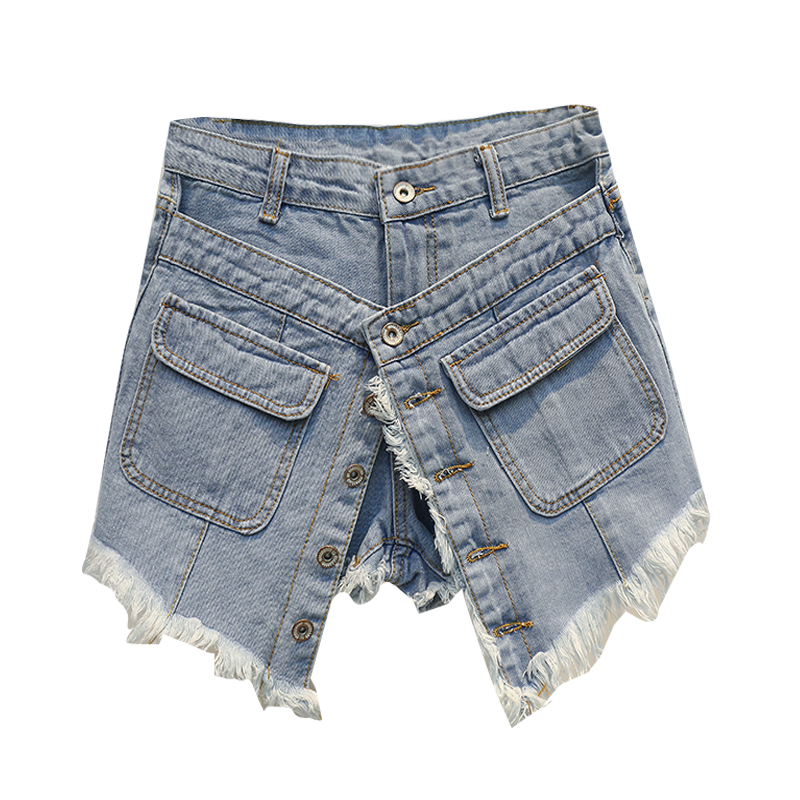 False 2 pieces women   shorts   2018 summer new button sexy hole lady party   shorts   jeans top quality
