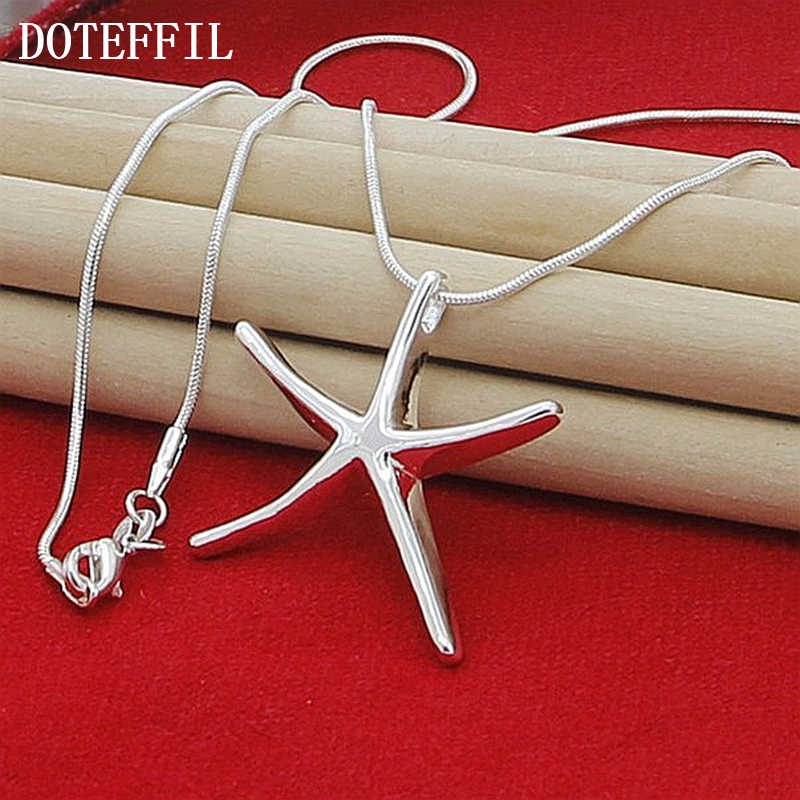 1 sztuk 925 kolor srebrny moda rozgwiazda naszyjnik naszyjnik hurtowych kobiet biżuteria naszyjnik Party Christmas Gift Hot sprzedaż