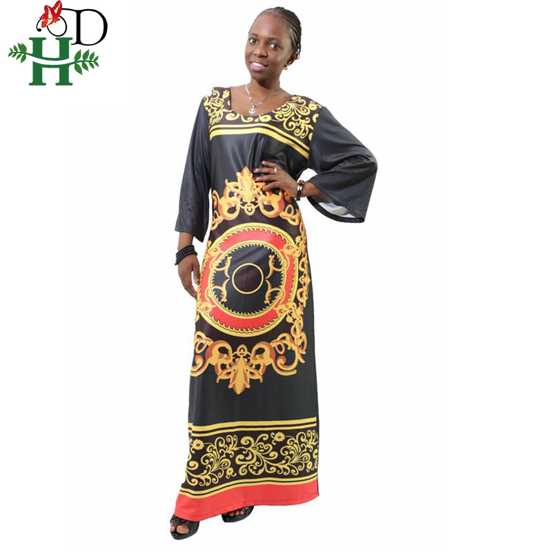 5f8f418ce7 2019 new year christmas woman maxi dresses casual boho black gold chain  printed long robe africaine plus size women 2xl 3xl 4xl