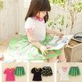 Девочки-младенцы одежда комплект цветочный принт шифон платье девочки короткая рукавами костюм костюм-двойка малышей одежда 2T ~ 7