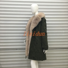 lisidun fur coat fox  Real natural collar Raccoon lining winter jacket Long hooded parkas